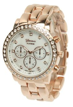 GENEVA Crystal & Mother of Pearl Tachometer Link Watch (Rose Gold)