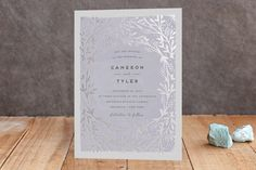 """""""Le Feuillage"""" - Rustic, Modern Foil-pressed Wedding Invitations in Blush by Bonjour Paper."""