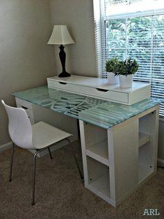Beautiful, glass-topped Ikea desk hack.