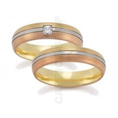 Gerstner wedding rings width: 5.5 mm Color: yellow white pink Number, cut and carats of diamonds: 1 princess 0,12 C Precious alloy type (at your choice): Gold 585‰ Gold 750‰