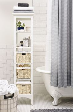 Clean up your act! Make sure every cotton ball, towel, and toothbrush has it's place with organizational essentials from woven boxes to silver-topped canisters.