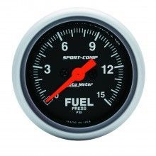 AUTO METER SPORT-COMP FUEL PRESSURE GAUGE KIT, 0-15 PSI, Electrical