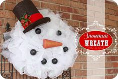 DIY: {Mesh Snowman Wreath}