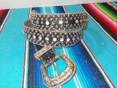 GUESS-911074-Rhinesone-BLING-Sparkle-Cowgirl-Western-BELT-Womens-Size-XL-40-42