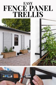 This modern DIY trellis is made from an in-stock fence panel! In just 5 steps you can have this ready for your favorite climbers! Front Yard Fence, Front Yard Landscaping, Privacy Landscaping, Modern Landscaping, Landscaping Ideas, Backyard Ideas, Diy Garden, Indoor Garden, Garden Ideas