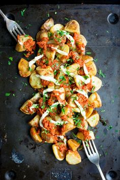 "Patatas Bravas is an addictive Spanish starter, but it's pretty heavy on the calories.. You'd never know this recipe was ""lightened up"" when you try it!"