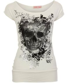 Krisp Womens Boat Neck Gothic Skull Skeleton Foil Butterfly Printed Glitter Banded Hem Tops T Shirts Vest Cap Sleeve Blouse Batwing Casual S...