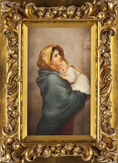 KPM porcelain plaque  ~ of Madonna Ferruzi ~ Hand painted after Roberto Ferruzi ~ Signed Wagner ~ Origin Germany ~ Circa 1880-1900