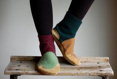 Women Slippers, Felted Wool Leather Boots, women size 6.5, 8, Fall & Winter II