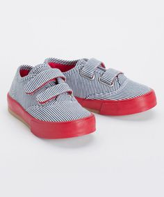 Love this Navy Railroad Stripe Scooter Double V Sneaker by morgan & milo on #zulily! #zulilyfinds