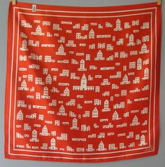 Vintage Vera Neumann Scarf - Red and White Village / Houses