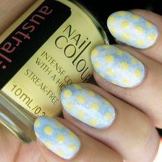#dotticure with a pastel blue sponge marble as the base #pastel  @caitnails