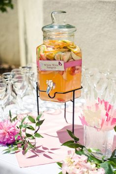 White wine sangria with ribbon to match wedding colors. Love!
