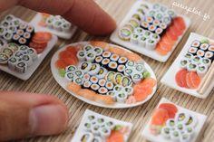 Miniature Sushi Plate - 1/12 dollhouse miniature. €35.00, via Etsy.