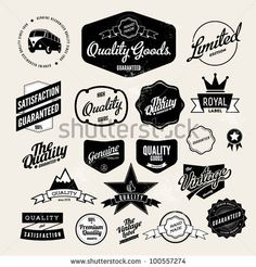 stock vector : Set of Vintage Retro Styled Quality Labels
