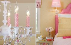 Adorable detail on the chandelier/ cute bright pink upholstered headboard