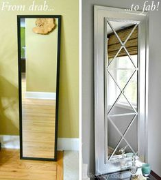 "Upcycled Door Mirror Tutorial ""You can find these inexpensive, plastic door mirrors at any discount store. It's so easy to transform them into glamorous mirrors with a trendy X-pattern. All it takes is a piece of MDF, a little molding and some metallic paint."""