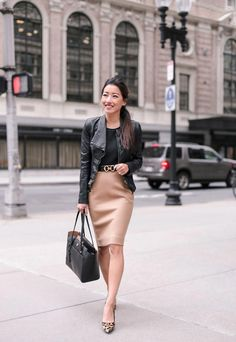 Fall work outfit: camel wool skirt + bell sleeve top Edgy but elegant fall outfit with a black leather jacket (faux) + tan pencil skirt Fall Outfits For Work, Casual Work Outfits, Professional Outfits, Office Outfits, Rock Outfits, Office Attire, Work Attire, Classy Fall Outfits, Office Wardrobe