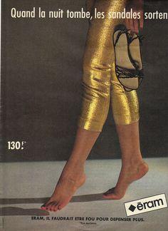 PUBLICITE 1970 ERAM chaussures quand la nuit tombe, les sandales sortent.i in Collections, Objets publicitaires, Publicités papier | eBay
