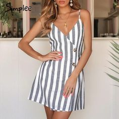 Simplee Elegant linen women summer dress V-neck button sexy summer dress Spaghetti strap ladies party mini dresses vestidos Sexy Summer Dresses, Casual Dresses For Women, Cute Dresses, Short Dresses, Fitted Dresses, Outfit Summer, Linen Dresses, Dress Summer, Fall Dresses