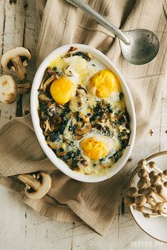 Mushroom Spinach Baked Eggs by pepper.ph #Eggs #Mushroom #Spinach