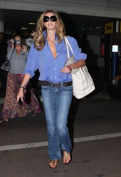 blue collar shirt(collar up and buttoned low) and jeans perfect