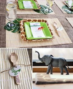 safari-jungle-baby-shower-place-setting-utensils Decor Idea my favorite switch out green for blue Safari Party, Safari Jungle, Jungle Theme Parties, Jungle Party, Cute Baby Shower Ideas, Baby Shower Favors, Baby Shower Parties, Baby Shower Themes, Baby Theme
