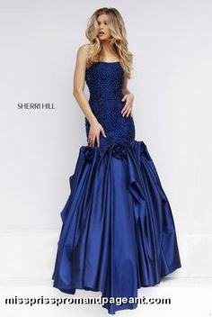 Sherri Hill - 32360 ivory, navy, red, black beaded bodice with mermaid fishtail skirt prom pageant 2016 dress gown