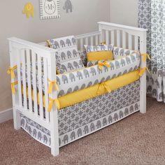 baby bedding elephant | designer baby bedding Yelloiw Elephant 5 piece crib bedding set