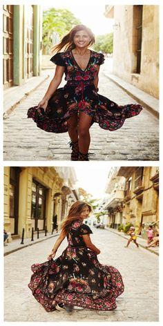 $21.31 Gracila Folk Style Floral Print Bandage V-neck Women Maxi Dress,printed dress,flower dress,maxi dress,dress pattern,boho dress