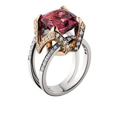 Right-hand fashion ring. Copper Tourmaline in 14kt rose and white gold with diamonds. www.jensenjewelers.com