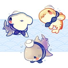 Sailor shark friends!! ⚓ These three friends will be available as acrylic charms soon on Etsy!
