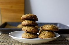 salted peanut butter cookies - penaut butter, brown sugar, eggs, vanilla, salt - that's it. smitten kitchen.