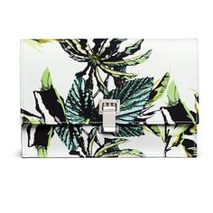Proenza Schouler 'Lunch Bag' small floral print satin crepe clutch ($790) ❤ liked on Polyvore featuring bags, handbags, clutches, borse, satin purse, stripe handbag, floral handbags, striped handbag and white purse
