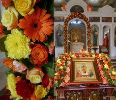 Ukrashenie hramov cvetami Pasha
