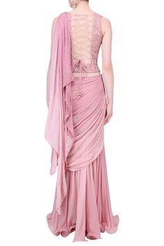 Mandira Wirk presents Onion pink mukaish embroidered 2 peice saree available only at Pernia's Pop Up Shop. Set Saree, Saree Gown, Lehenga Saree, Indian Fashion Designers, Pernia Pop Up Shop, Draped Dress, Designer Wear, Pants For Women, Onion