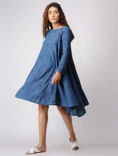 Buy / ELEVEN ELEVEN Indigo Khadi Cotton Dress with Mirror Work online in India at best price. Stylish Tops For Women, Mirror Work, Western Dresses, Buy Dress, Stylish Dresses, Cotton Dresses, Dress Patterns, Frocks, Pretty Dresses