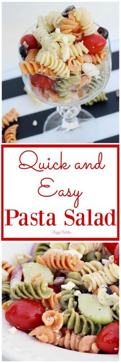 Quick and Easy Pasta Salad Recipe that is great to add to any summer event. It is yummy and easy to make! Click for the recipe