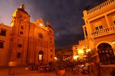 Stormy skies over Cartagena, Colombia, after sunset, taken at Plaza San Pedro de Claver