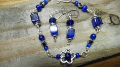 Blue Cobalt Leverback Pierced Earrings There is matching bracelet. This can be seen at my shop at Etsy. Handmade by Mary O @ Prairie Pine Peddler