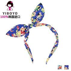 韩国YIBOYO进口正品发饰品 波西米亚 撞色印花兔耳朵女发箍 头箍-tmall.com天猫