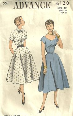 Advance 6120 Vintage 50s Sewing Pattern Dress Size 12