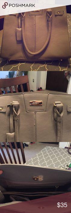 BCBG gray purse BCBG gray purse 2 handles 3 compartments inside, 1 zippered,  gold accents BCBG Bags Satchels