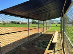 A dugout on the baseball field located on the right side of Providence Ranch Park in Eastvale, California. http://youreastvalerealtor.com/eastvale-parks/