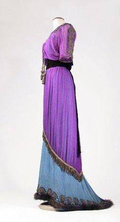 Bohemian Iridescent Purple Chiffon Tea Gown