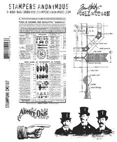 Tim Holtz Stampers Anonymous Cling Mount Set #107 Steampunk