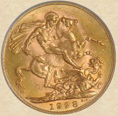1928 South Africa Sovereign reverse Archaic Greece, Gold Money, World Coins, Iron Age, Coin Jewelry, African Animals, African History, Coin Collecting, South Africa