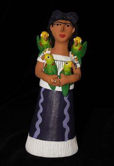 Josephina Aguilar - Frida Kahlo self-portrait with Parrots - Mexican Folk Art