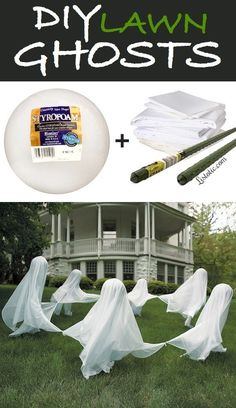 DIY Lawn Ghosts Yard Halloween Decorations Tutorial | Listotic - Spooktacular Halloween DIYs, Crafts and Projects - The BEST Do it Yourself Halloween Decorations