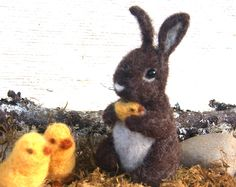 Brown Baby Bunny with his little chick Easter Spring Rabbit Needle felt made to order (woolcrazy) by woolcrazy on Etsy #etsy #handmade #needlefelt #bunny #easter